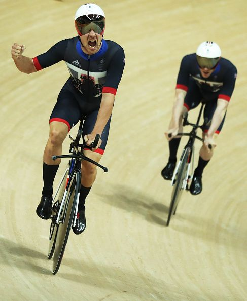 Owain Doull of Great Britain celebrates victory in the Men's Team Pursuit at Rio…