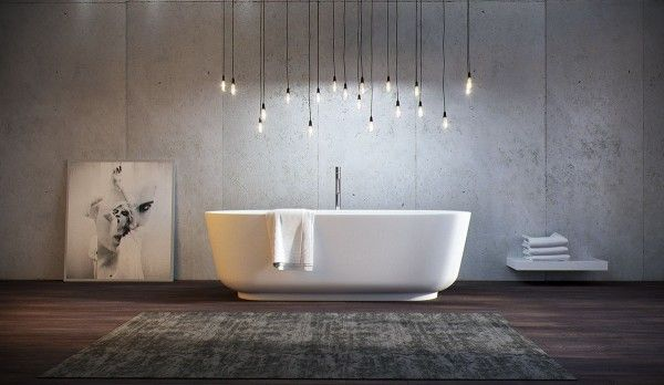 Perfect symmetry, illuminated by a whimsical hanging light arrangement that drenches the occupant with a soft glow.