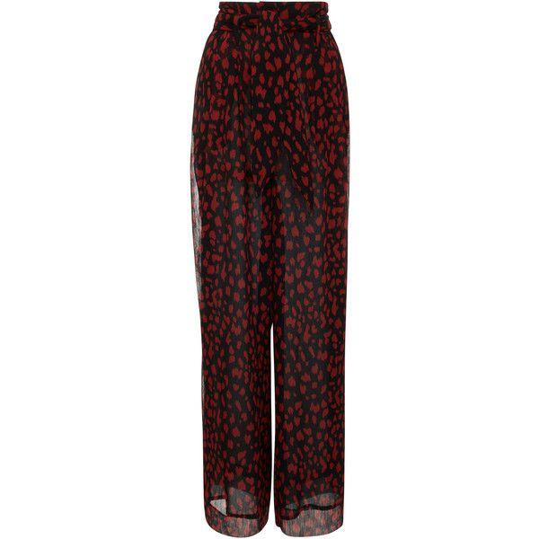 Nevada Chiffon Pant | Moda Operandi ❤ liked on Polyvore featuring pants, high waisted wide leg trousers, high rise trousers, high-waisted trousers, pleated pants and pleated wide leg pants