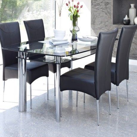 Contemporary Glass Dining Table Design Come With 2 Tier To Storage Space  Together Four Stainless Steel Legs In Chrome And Black Leather Du2026 | Home  Decor ...