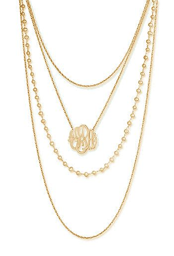 Loving this layered monogram necklace!