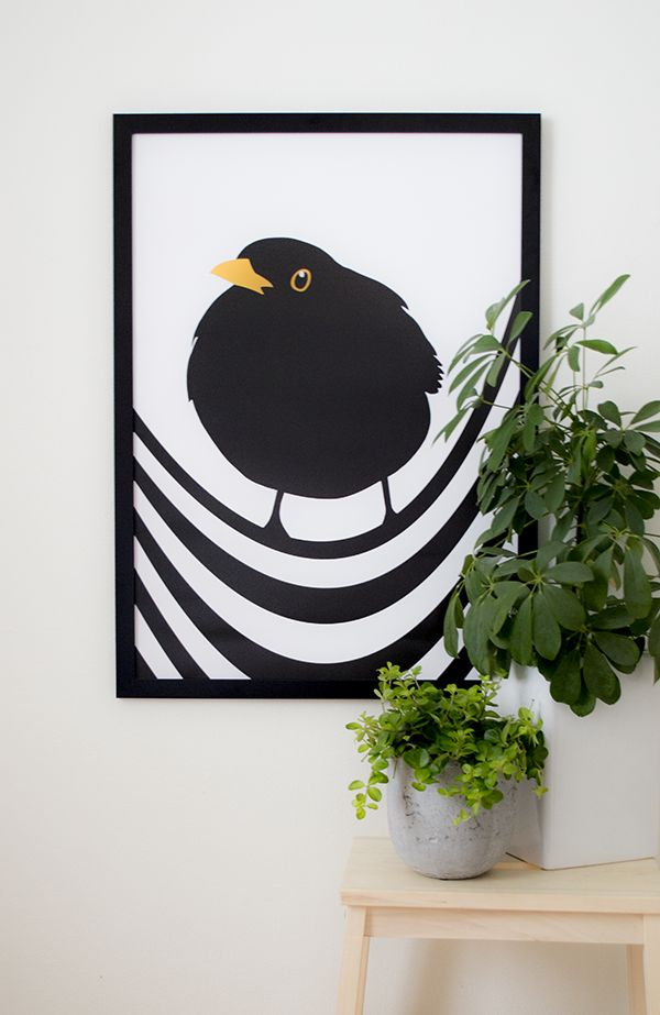 King Blackbird! Amazing poster by talented Lina Johansson #nordicdesigncollective #linajohannson #blackbird #bird #birds #kingblackbird #poster #print #black #yellow #wire #stripe #line #stripes #striped #illustration #fig #plant #pottedplant #nordicdesign #frame #interiordesign #homedecor #wall #art #posterwall #home