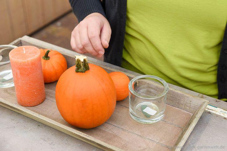 Schritt 2: Kürbisse in unterschiedlichen Größen auf dem Tablett verteilen, orange Stumpenkerze ebenfalls mit Knetfix fixieren.