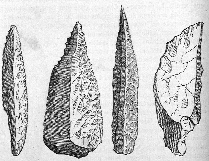 Préhistoire catalogue Détails de: Silex taille du Perigord (couteau, hache, couteau, grattoir) #stone #roche #draw #silex