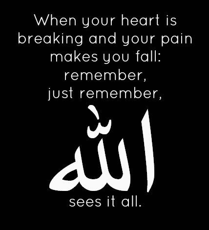 When your heart is breaking and your pain makes you fall: remember, just remember.. Allaah sees it all.