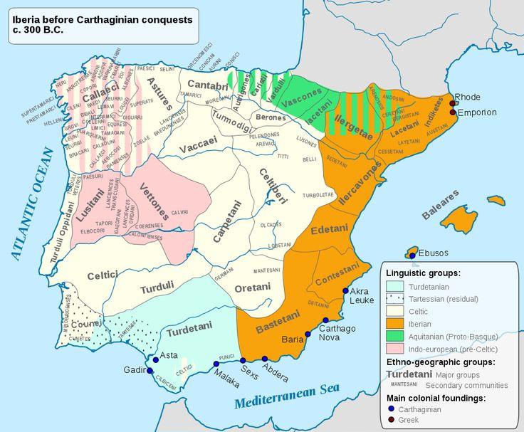 Mapa de los pueblos prerromanos en el s. IV a. C.