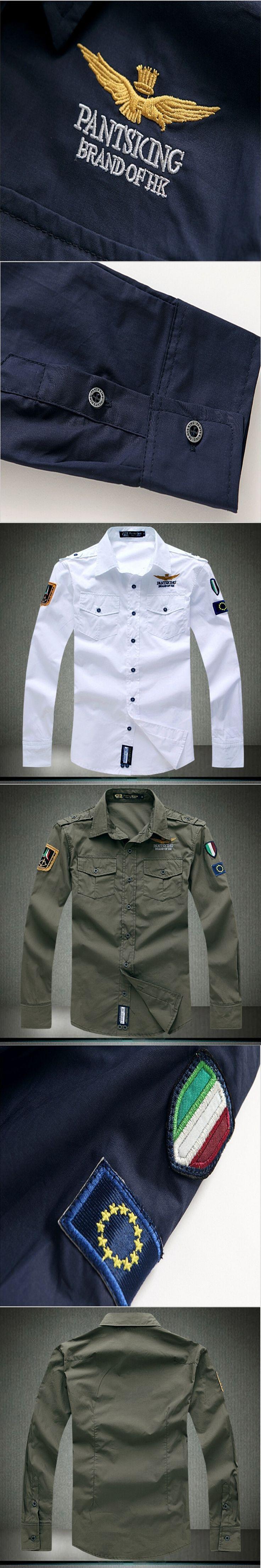 2017 Shirt Air Force One Men Shirt Long Sleeve Slim Fit Aeronautica Militare Men Dress Shirt 4XL Camisas Hombre Camisa Masculina