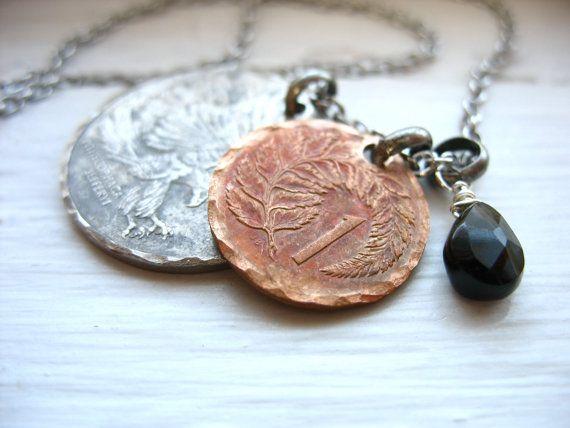 Coin Jewelry Tourmaline Gemstone Coin Charm por LuminousCreation