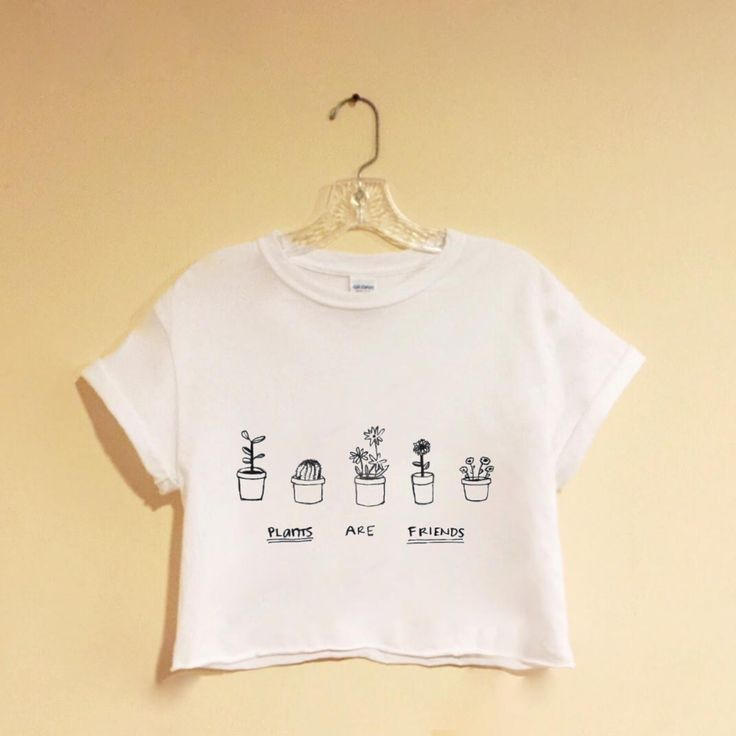 Plants Are Friends - White Crop Top - Screen Printed - Hipster - Tumblr - Pinterest - Trendy - Tshirt - Instagram Blogger Grunge - Vegan funny t shirts