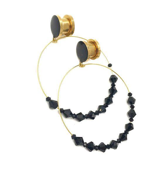 Gold or Silver  Black Gem Hoop Dangle Plugs  / 8g 6g 4g