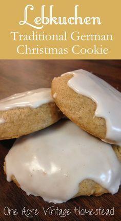 Lebkuchen: A Traditional German Christmas Cookie Originally from Nuremberg, Germany. One Acre Vintage Homestead #germanrecipes #lebkuchen