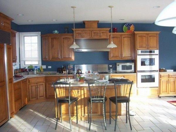 Cool Colors Wood Cabinets Honey Oak Cabinetspainted Kitchen