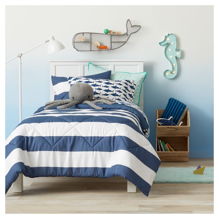 Bring the mystery of the ocean home with a dreamy underwater oasis. The Ocean Oasis Collection from Pillowfort will have your little one dreaming of the seaside. A great theme for a boy or girl, this kids' bedroom collection has whimsical whales, startling seahorses, and observant octopi to...