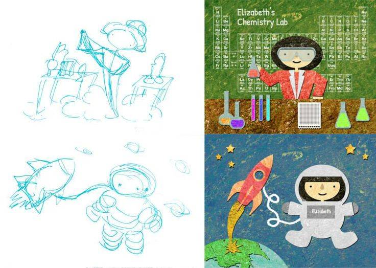From sketches to final images! How far _'s Little Book of Big Dreams has come!