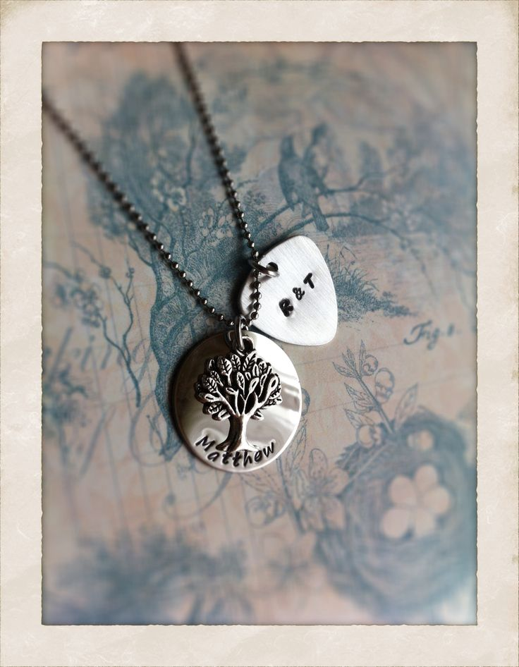 Family Tree Pendant with mini guitar pick