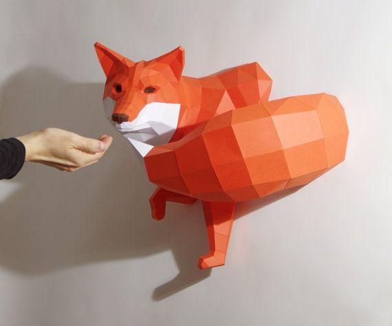Fox pequeña escultura de papel cortado DIY por PaperwolfsShop