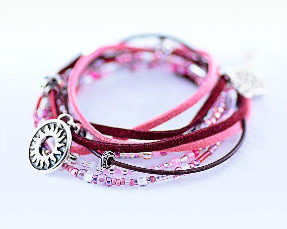 Dark pink bracelet in two turns in Boho style with key by LeKoLe