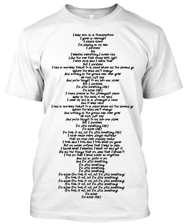 Sia Alive Song lyric tshirt