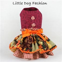 Can't you see your little dog wearing this little fall dog dress around town?…