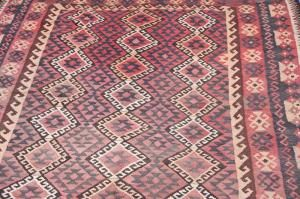 Charming Afghan Kilim made by refugees near the borders of Pakistan and Afghanistan. Beautiful Pastel colours.