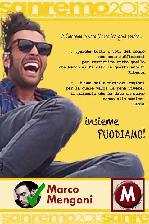Marco Mengoni verso Sanremo...io lo voto perche' ... https://www.youtube.com/watch?v=Y3BswZeCdik