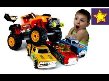 Машинки Монстр Трак Lego против машинок Hot Wheels vs Lego Monster Truck http://video-kid.com/20898-mashinki-monstr-trak-lego-protiv-mashinok-hot-wheels-vs-lego-monster-truck.html  Привет, ребята! В этой серии Игорюша открывает и собирает машинку Лего монстр трак внедорожник. Это оранжевая машинка конструктор с большими колесами и задним спойлером. Спойлер регулируется. Проводим соревнования. Монстр трак прыгает через Хот Вилс машинки…