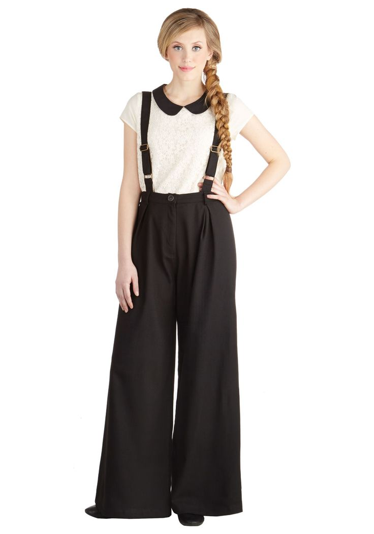 Conference Room Coffee Pants in Black. Youve got your laptop, your glasses, and, of course, a mug of energizing coffee - time to strut these button-suspendered trousers on over to the company conference room. #black #modcloth