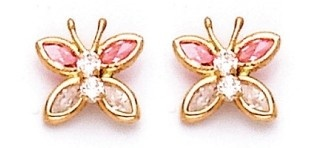 Baby and Childrens Earrings: 14K Gold, Pink CZ Butterflies with Safety Screw Backs - Baby Jewellery & Childrens Jewellery. Gifts for New Mothers. $69