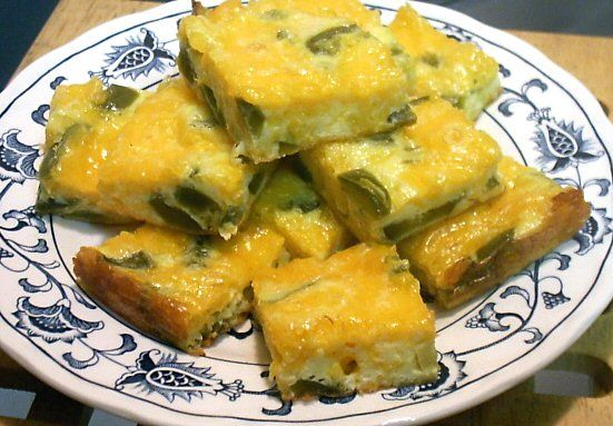 Jalapeno Fudge -  EASY and yummy!!  (4 eggs,  7 ounce can sliced pickled jalapeños, drained and chopped (about 3/4 cup),  8 ounces cheddar or colby cheese, shredded)