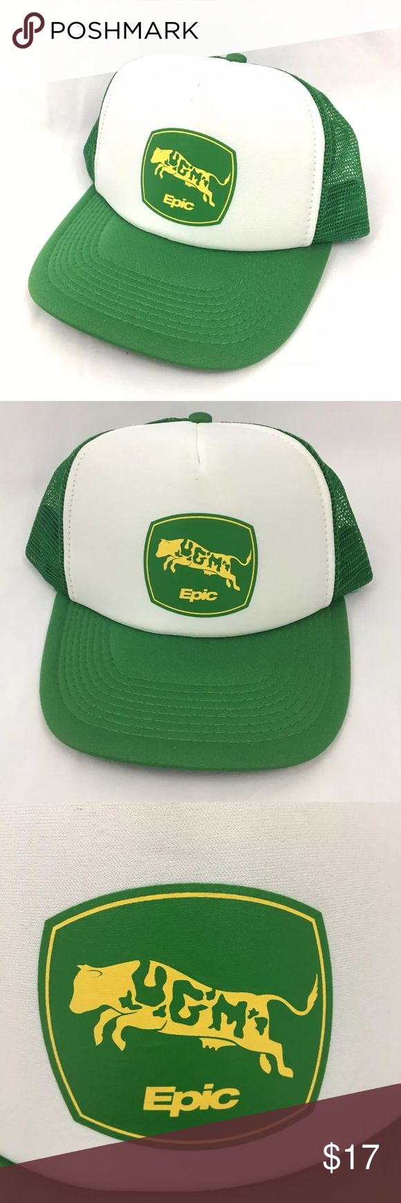 Retro Cow Logo Trucker Hat Epic Systems UGM Cow SnapBack Trucker Hat Cap Retro Farmer Farm Steer Cattle Green and white traditional mesh and foam trucker hat  Unique cow logo on front! Great condition, looks unworn epic Accessories Hats