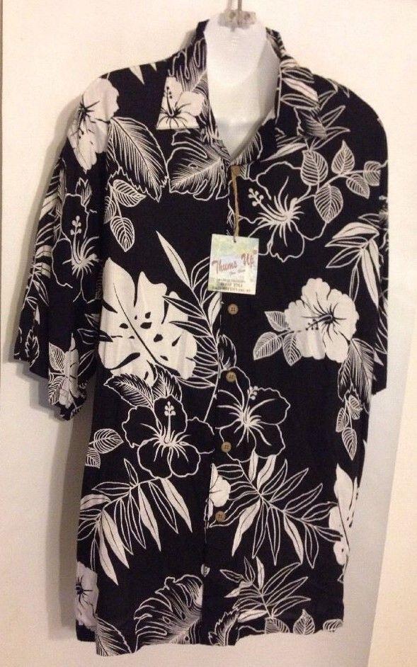 Thumbs Up for Him Size XL Sportswear Quality Hawiian Shirts Rayon Black White | eBay