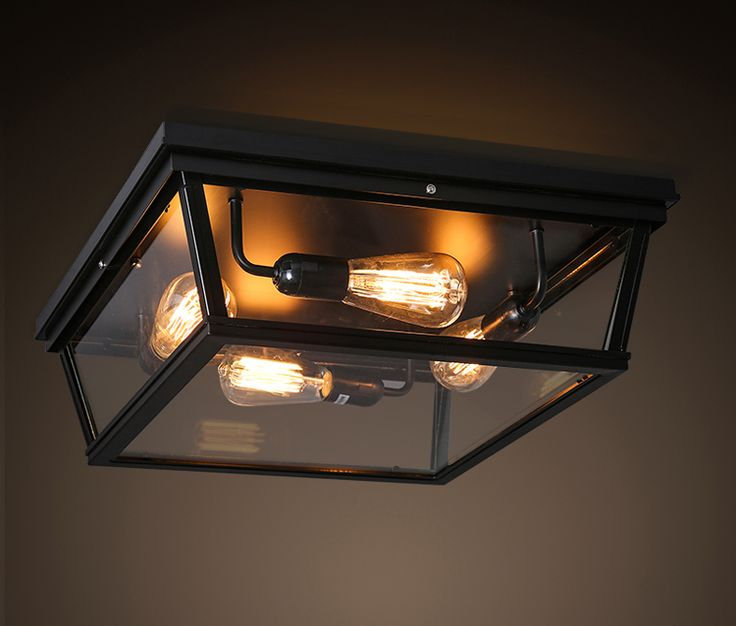 retro industrial loft vintage ameican glass box square led ceiling light bedroom living room balcony home