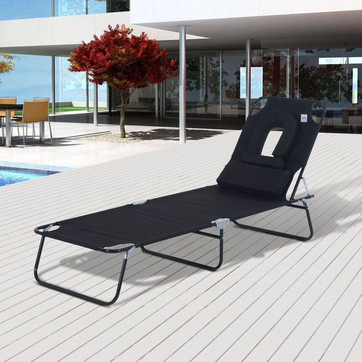 Black Folding Sun Lounger Reading Hole Metal Frame Lawn Garden Outdoor Furniture
