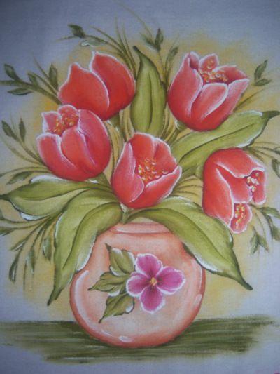 Claudeteamorempintura Blog: El amor en pintura, los tulipanes de tela plato