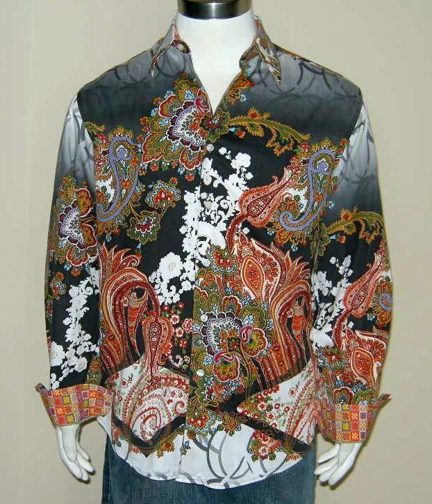 "Robert Graham ""EDUN"" (Sz L) RARE Wild PAISLEY Designs Limited Production EUC #RobertGraham #ButtonFront"
