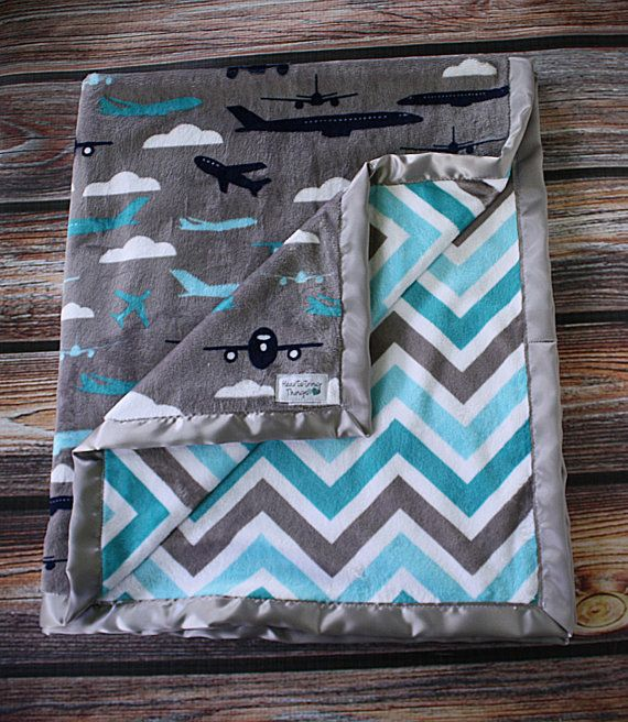 Baby Minky Aviator Blanket Airplane Blanket by HeartstringThings, $20.00