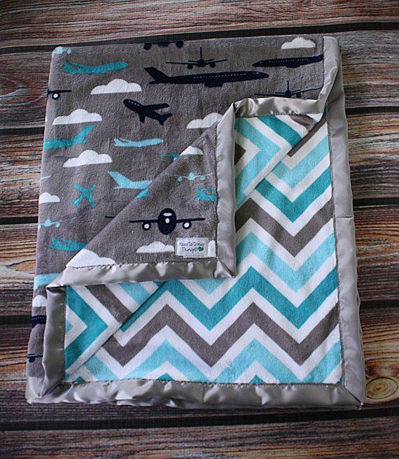 Baby Minky Aviator Blanket Airplane Blanket by HeartstringThings, $20.00