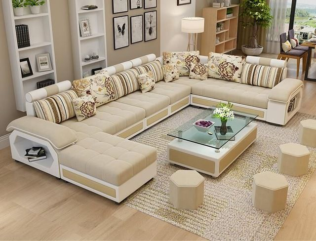 Wholesale Factory Wholesale Fabric U Shaped Sectional Sofa Modern European Style Washable Livi Living Room Sofa Design Living Room Sofa Set Luxury Sofa Design