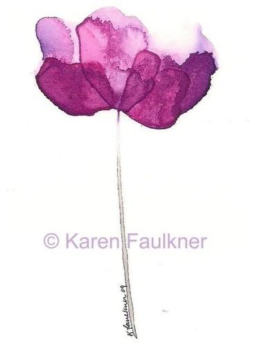 Purple Petals Abstract Watercolor Flower by Karen Faulkner Art contemporary artwork