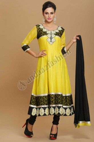 Tittle:SILKY ANARKALI CHURIDAR SUIT  Design No. 1518  Price : RM 149.00  Yellow silky anarkalichuridar suit. Kalidarkameez lined with cotton. Yoke and daman with resham&zari embroidery. Chiffon dupatta with contrast borders. Black churidar  More Details visit  @ http://www.andaazfashion.com.my/eid-collection-2014/churidar-suit-collection/silky-anarkali-churidar-suit.html