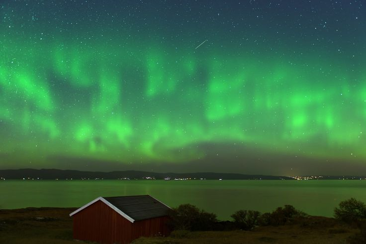 Make a wish by Hessam M. Nik on 500px. Aurora, northern lights, and a meteor, as seen in Trondheim, Norway.