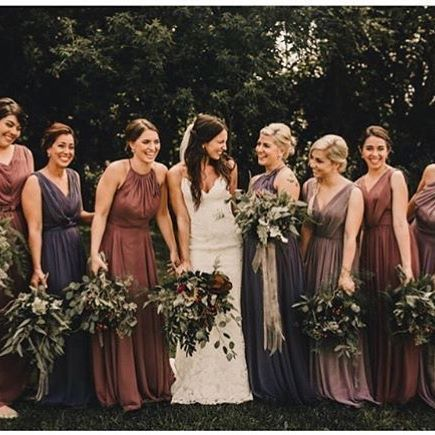 Deep Fall Colored Bridesmaids Dresses // autumn, wedding, brown