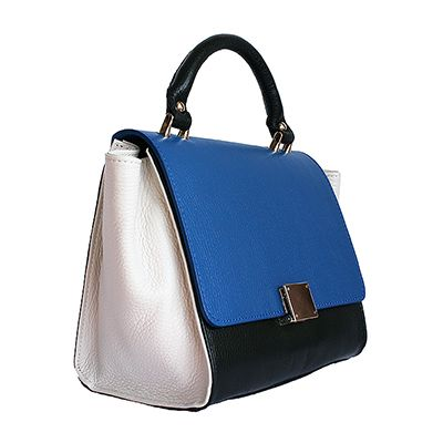 Designer Style Origami Blue Leather Handbag (Large Size) - Down to £39.99 from £49.99