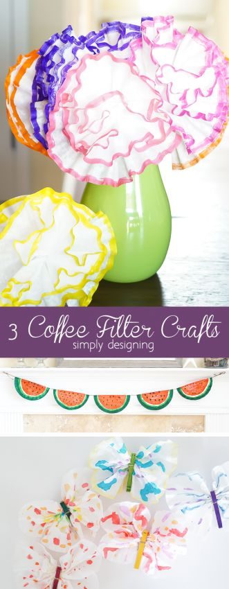 3 Coffee Filter Crafts perfect for little ones. A fun kids craft idea  by Simply Designing