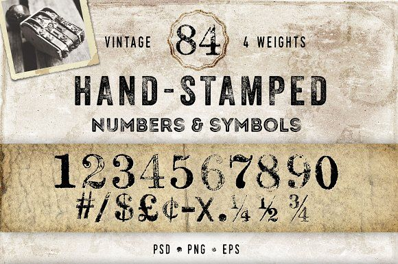 Vintage Hand Stamped Numbers by Eclectic Anthology on @creativemarket