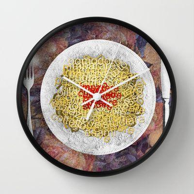 L'italiano+vien+mangiando+Wall+Clock+by+Francesca+Cosanti+-+$30.00
