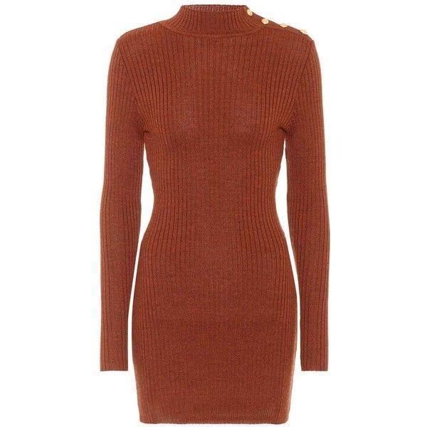 Balmain Wool Minidress (5315450 PYG) ❤ liked on Polyvore featuring dresses, brown, short brown dress, mini dress, balmain dress, short dresses and wool dress