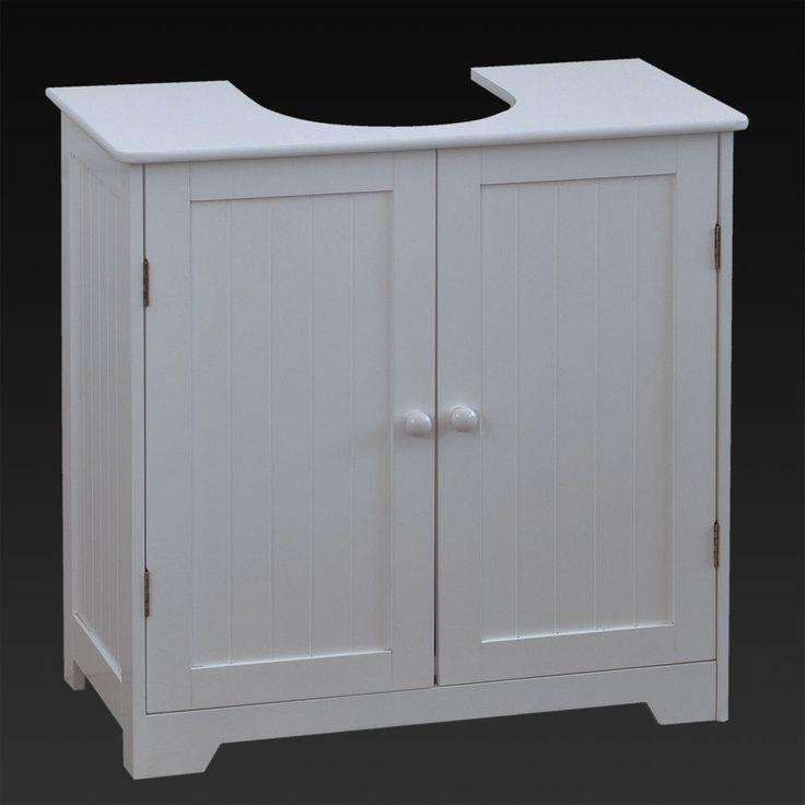 UNDER SINK BASIN STORAGE UNIT WHITE WOOD BATHROOM CABINET ...