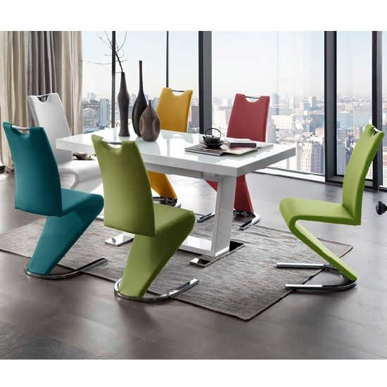 Amado Dining Chair In Olive Faux Leather In A Pair_4