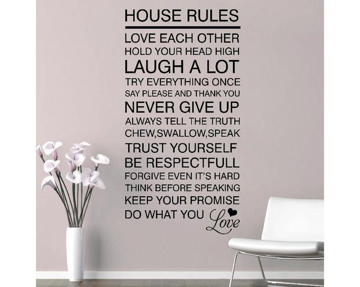 House rules ,φράση σε αυτοκόλλητο τοίχου